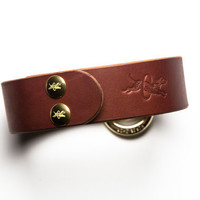 Leather Bondage Collar - Chestnut Brown Latigo - Brass Lead Ring -  Brass Fasteners