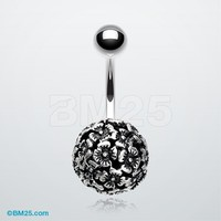 The Hollow Flower Ball Belly Button Ring