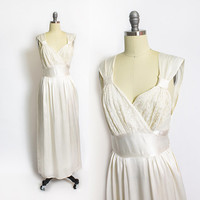 Vintage 1940s WRAP Night Gown - Ivory Rayon Silk Satin + Lace Full Length Slip 40s - Medium M