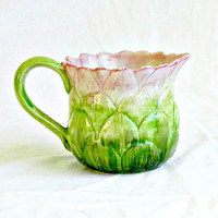 Vintage Fitz & Floyd Vegetable Garden Artichoke Measuring Cup,  FF Hand Painted Porcelain Pitcher, Pastel Green and Pink.