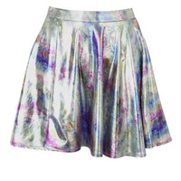 Print Rainbow Metallic Skater Skirt at Fashion Union