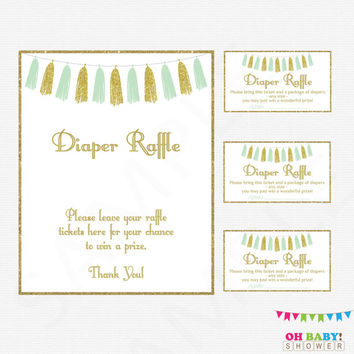 Mint and Gold Baby Shower Diaper Raffle, Diaper Raffle Tickets, Diaper Raffle Sign, Mint Gold Baby Shower Games, Printable Download, TASMG