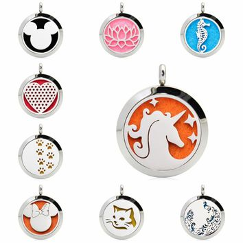 Unicorn Mouse Sea Horse 25mm Stainless Steel Essential Oil Aromatherapy Perfume Diffuser Locket Pendant Women Jewelry 10 Pads