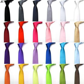 2018 Polyester Skinny Necktie Ties For Men Wedding Suit Slim Necktie Classic Solid Color Tie Casual Candy Color Length 71cm Tie