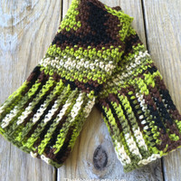 Multicolored Wrist Warmers in Hunter Tones, Mens & Womens Sizes, Crochet Fingerless Gloves, Texting Gloves, Boho Winter Wear, Camo Gloves