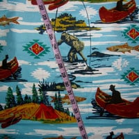 Flannel fabric with man Fishing fish pole canoe lake boat camping cotton quilt quilting sewing material to sew for crafts by the yard 1yd