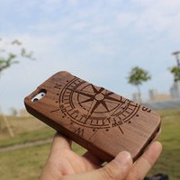 compass natural wood iphone 5c case,wooden iphone 5c cover, gift,for him,wood case