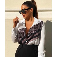 FENDI Fashion Women Long Sleeved Lapel Shirt Top