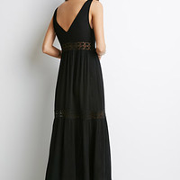 Crochet-Trimmed Crepe Maxi Dress