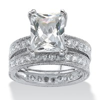 2 Piece 5.98 TCW Emerald-Cut Cubic Zirconia Bridal Ring Set in Sterling Silver