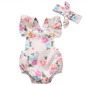 Cute Infant Baby Girls Floral Sleeveless Romper +Headband Summer Sun suit Clothes Outfits