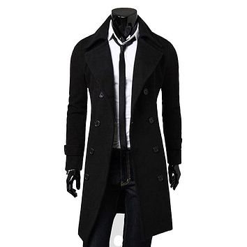 Solid Color winter Pea Coat Turndown Collar Double-Breasted Design Long Sleeves Woolen Trench Coat For Men CHOLYL