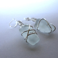 Sea Glass Earrings, Silver Wire Wrapped Earrings, Beach Glass Jewelry, Wire Wrapped Jewelry, White Beach Glass