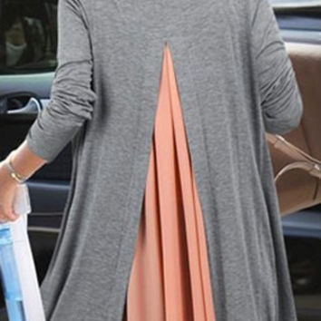 Pink and Gray Long Sleeve Back Slit Cardigan Twinset