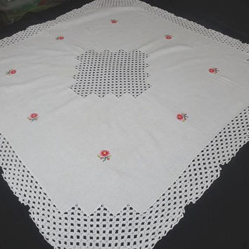 1960s Vintage Hand Embroidered Small Tablecloth in White, Embroidered Flowers, Drawn Work Lace Details, 30 In. Square, Vintage Table Linens