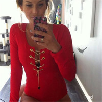 Women Elastic Lace Up Jumpsuit Bodysuit Sexy Playsuit Deep V Neck Metal Chain Long Sleeve Bodycon Shirts One-piece Slim Rompers