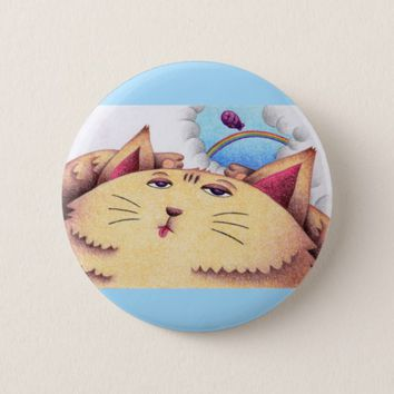 Sleepy cat pinback button