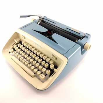 Reconditioned Royal Aristocrat Vintage Typewriter - Working Typewriter - Blue and Cream - Very Good Condition