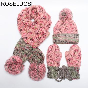 ROSELUOS Women Scarf Hat Glove Sets 2017 Autumn Winter Thick Warm Knitted Beanies Hats Long Scarf Set For Girls