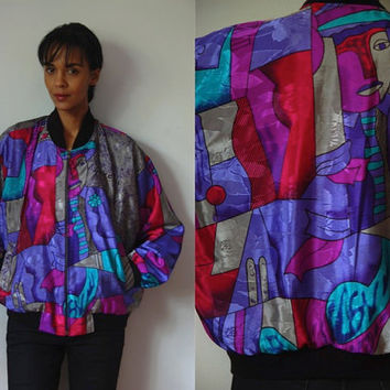 Vtg Picasso Print Purple Pink Grey Zip Up Bomber Jacket