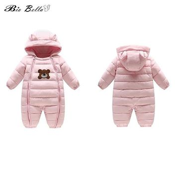 Baby Infantil Winter Dowm Jacket Cartoon Hooded Cute Bear Zipper Boy Girl Winter Clothes New Kids Newborn Think Kids Outfits