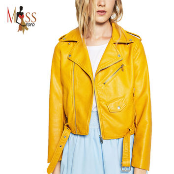2016 New Autumn Fashion Street Women's Short Washed PU Leather Jacket Zipper Bright Colors New Ladies Basic Jackets Good Quality