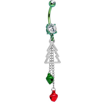 Handcrafted Christmas Tree Belly Ring Created with Swarovski Crystals