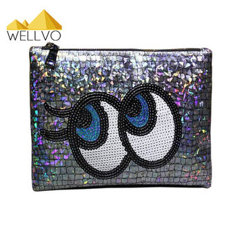 Designer Laser Silver Cltuch Bag Patent Leather Mirror Big Eyes Envelope Clutch Purse IPod Pouch Day Clutches Handbag XA463C