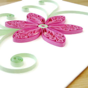 Floral Card Unique, Birthday Card, Paper Quill Flower Card, Pink Green Flower, Happy Birthday Card, Sympathy Card, Get Well Card, Thank You