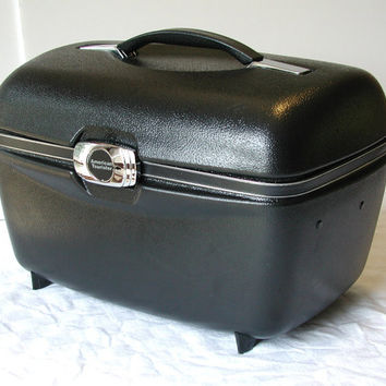 American Tourister Black Train Case Vintage Tote