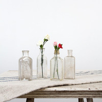 Antique Glass Bottle Collection / Clear Glass Pharmaceutical Bottles