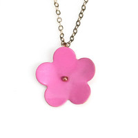 Pink Copper Forget-Me-Not Necklace, Large