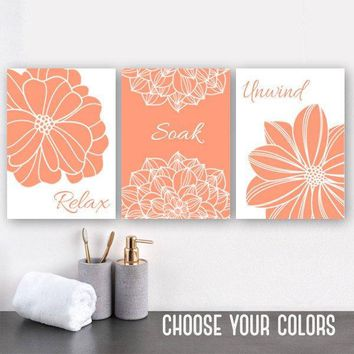 Peach BATHROOM Wall Art DECOR Canvas or Prints Peach Flower Bathroom Wall Decor, Relax Soak Unwind Bathroom Quotes Artwork Set of 3 Decor