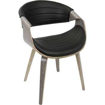Symphony Mid-Century Modern Dining / Accent Chair, Light Grey Wood & Black PU