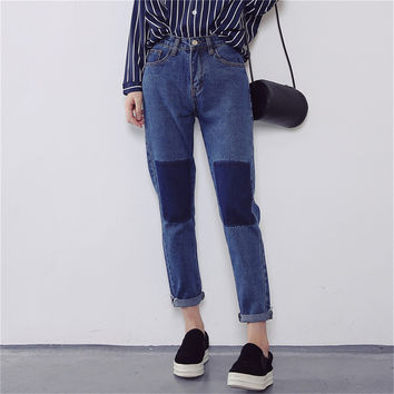 Autumn women's fashion color block high waist straight jeans ankle length trousers casual dark blue pants trousers high street