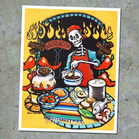 Mexican Kitchen El Catrin Barbecue Art Print. Day of the Dead Cook Wall Art. Gift for Dad Skeleton Trippy Colorful Wall sign. Grill Poster