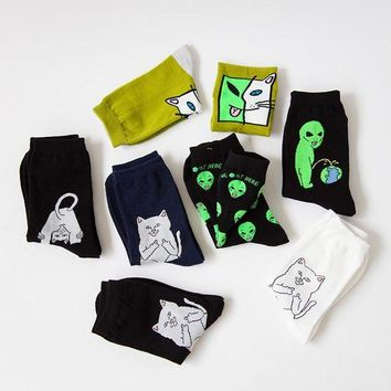 ac NOOW2 New Mid Crew Socks Lord Normal Alien Cat ET Pop-Up Spaced WE OUT HERE Skater come in peace Men Road Trip 34-43