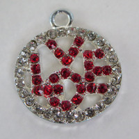 1PC - Silver Rhinestone Pendant - Round Love Charm with Red and Clear Rhinestones - 20x18mm