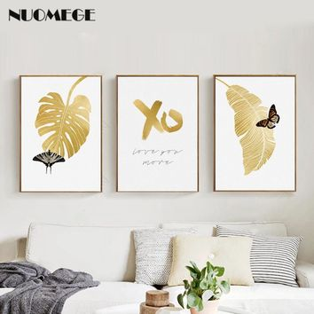 NUOMEGE Nordic Canvas Art Wall Paintings Gold Leaf Posters Decoration Canvas Paintings Print Wall Pictures for Living Room