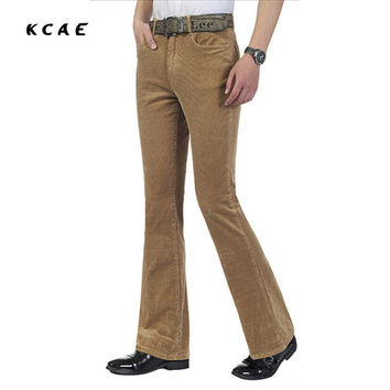 NEW Autumn Men's commercial casual pants corduroy Flares trousers male elastic bell-bottom trousers Size 27-36