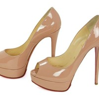 CHRCHRISTIAN LOUBOUTIN Nude Patent Leather Lady Peep Toe Pump Shoes Sz 8.5