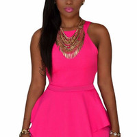 Pink Black Sleeveless Peplum Rompers