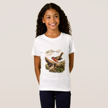 Vintage Birds Robins Illustration with Text T-Shirt