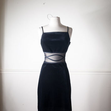 Vintage BLACK Velvet Dress | Sheer Cut Out Illusion Cocktail Dress Bandage Dress 90s Dress Goth Dress 90s Prom Dress Bodycon Dress Midriff