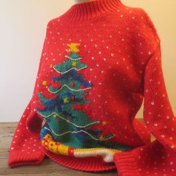 Vintage Ugly Christmas Sweater Red Tree Holiday Pullover Crochet Size Medium to Large