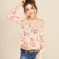 Rose Print Bell Sleeve Blouse | Wet Seal