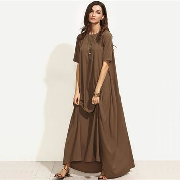 Summer Casual Long Dresses For Woman Plain  Short Sleeve Zipper Back Loose Shift Maxi Dress