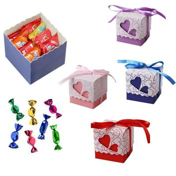 10PCS Double Hollow Love Heart Candy Boxes with Ribbons for Birthday Party Wedding Small Laser Cut Favor Gift Boxes Supplies S30
