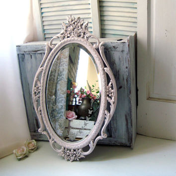 Oval Ornate Pink Mirror, Metal Baby Pink Vintage Mirror, Shabby Chic Light Pink and Silver Heavy Mirror, Nursery Mirror, Bathroom Mirror