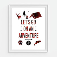 Lets Go On An Adventure Art Print, Rustic Nursery Decor, Childrens Art, Camping Wall Art, Boys Room Art, Red Plaid, Lumberjack Art
